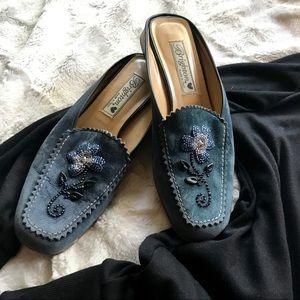 Brighton Melani Blue Suede Slip Ons